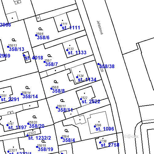 Katastrální mapa Parcela 1134 na katastrálním území Rokycany