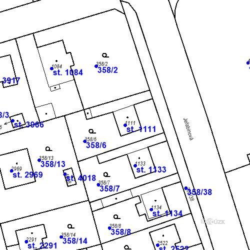 Katastrální mapa Parcela 1111 na katastrálním území Rokycany