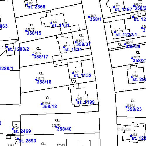 Katastrální mapa Parcela 1132 na katastrálním území Rokycany