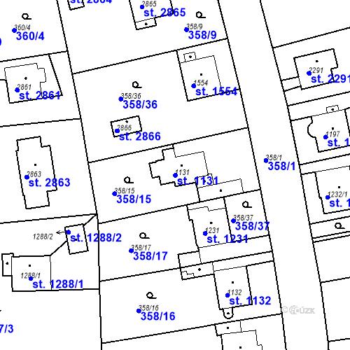 Katastrální mapa Parcela 1131 na katastrálním území Rokycany