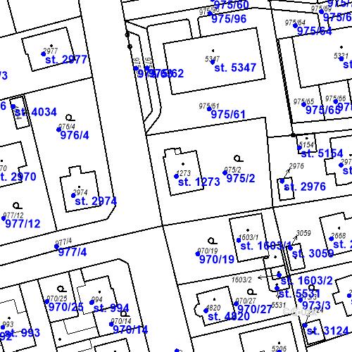 Katastrální mapa Parcela 1273 na katastrálním území Rokycany