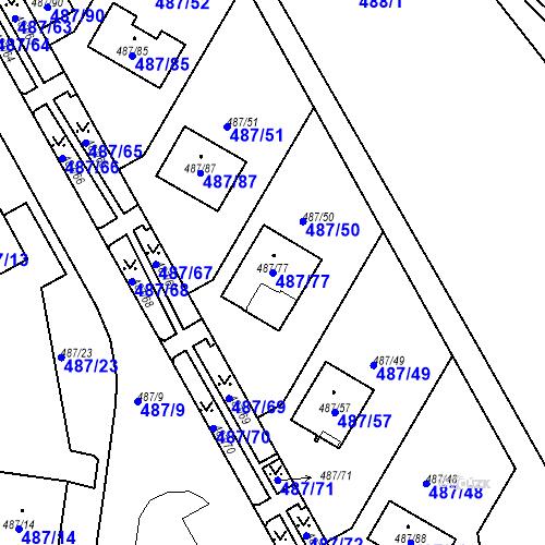 Katastrální mapa Parcela 487/77 na katastrálním území Březno u Chomutova