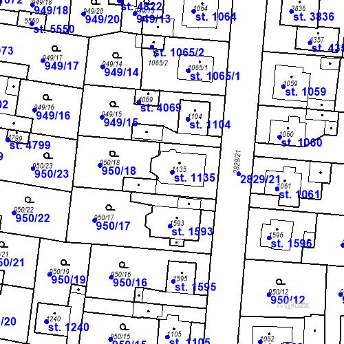 Katastrální mapa Parcela 1135 na katastrálním území Rokycany