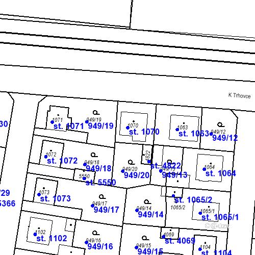 Katastrální mapa Parcela 1070 na katastrálním území Rokycany