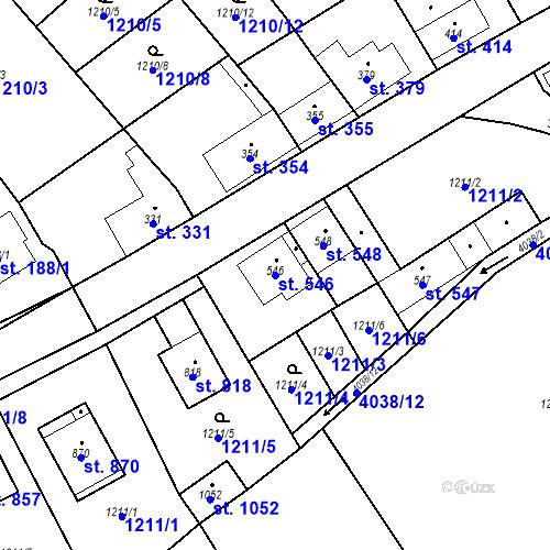 Katastrální mapa Parcela 546 na katastrálním území Kryry