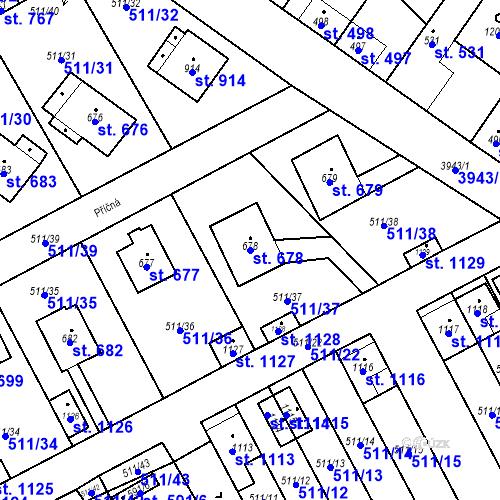 Katastrální mapa Parcela 678 na katastrálním území Kryry