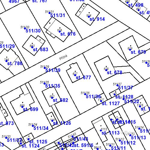 Katastrální mapa Parcela 677 na katastrálním území Kryry