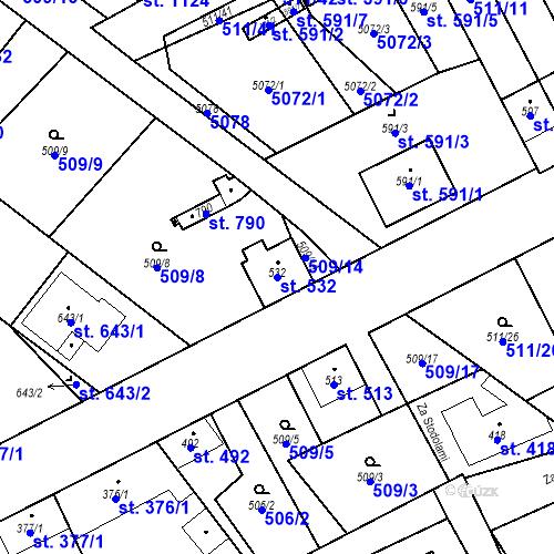 Katastrální mapa Parcela 532 na katastrálním území Kryry