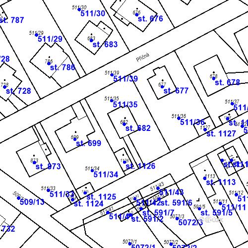 Katastrální mapa Parcela 682 na katastrálním území Kryry