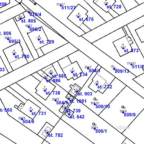 Katastrální mapa Parcela 734 na katastrálním území Kryry