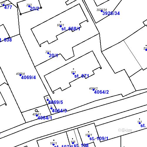 Katastrální mapa Parcela 671 na katastrálním území Kryry