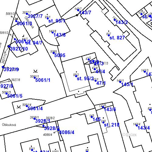Katastrální mapa Parcela 95/2 na katastrálním území Kryry