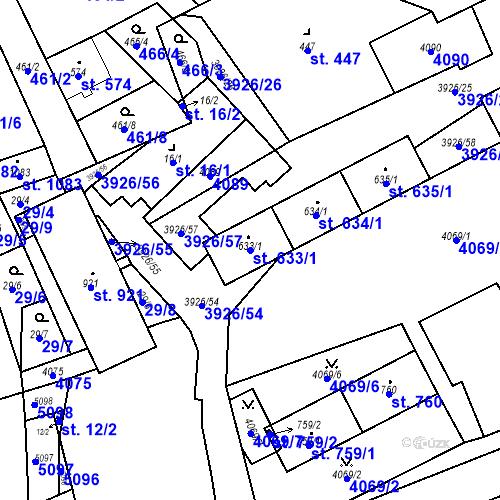 Katastrální mapa Parcela 633/1 na katastrálním území Kryry