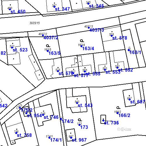Katastrální mapa Parcela 577 na katastrálním území Kryry