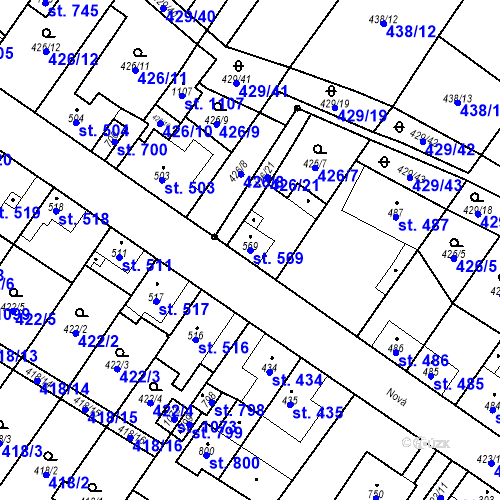 Katastrální mapa Parcela 569 na katastrálním území Kryry