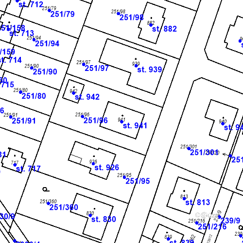 Katastrální mapa Parcela 941 na katastrálním území Losiná u Plzně