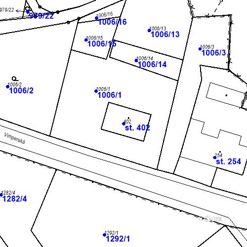 Katastrální mapa Parcela 402 na katastrálním území Kašperské Hory