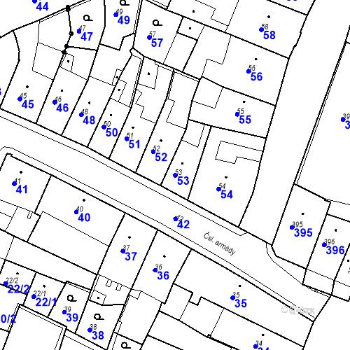 Katastrální mapa Parcela 53 na katastrálním území Kadaň