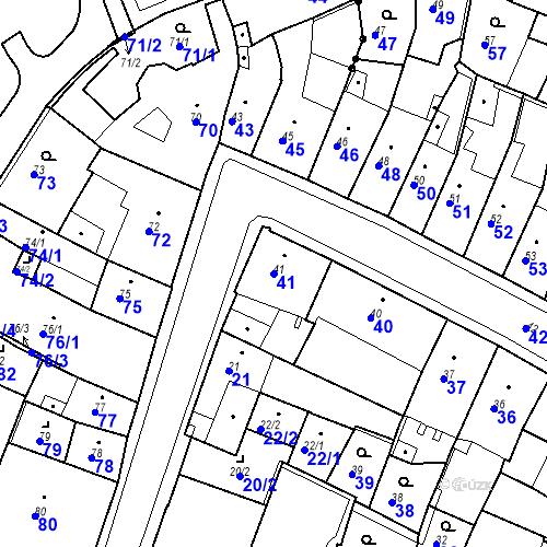 Katastrální mapa Parcela 41 na katastrálním území Kadaň