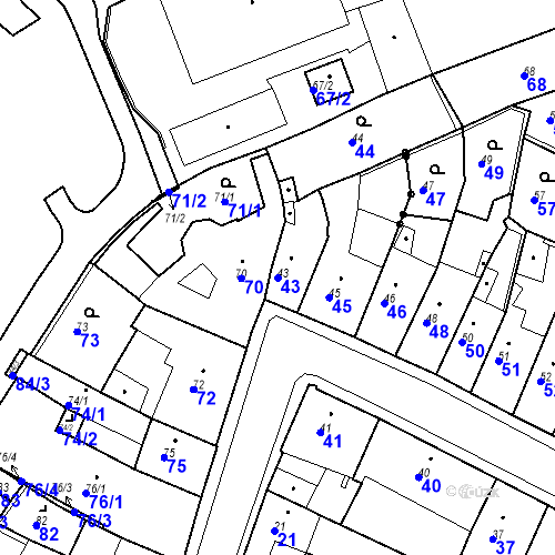 Katastrální mapa Parcela 43 na katastrálním území Kadaň
