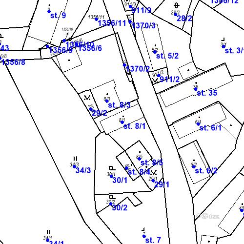 Katastrální mapa Parcela 8/1 na katastrálním území Radochovy