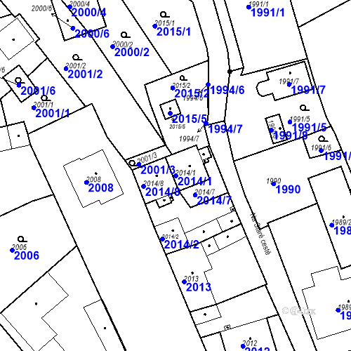 Katastrální mapa Parcela 2014/1 na katastrálním území Třemošná