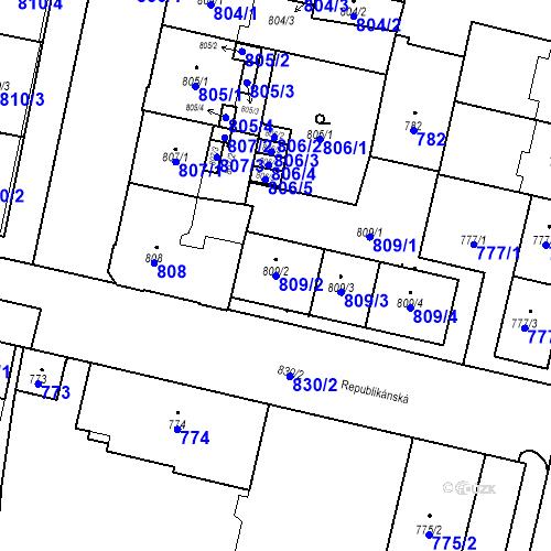 Katastrální mapa Parcela 809/2 na katastrálním území Lobzy
