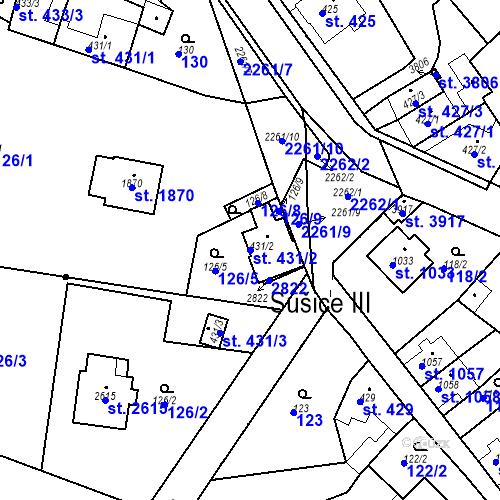 Katastrální mapa Parcela 431/2 na katastrálním území Sušice nad Otavou