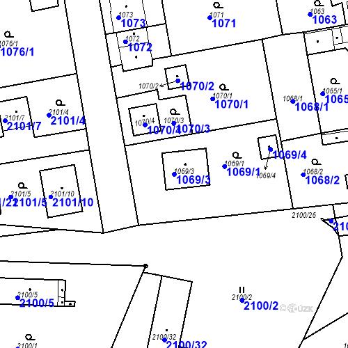 Katastrální mapa Parcela 1069/3 na katastrálním území Třemošná