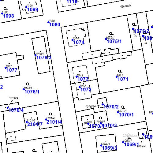Katastrální mapa Parcela 1073 na katastrálním území Třemošná
