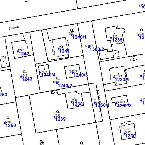 Katastrální mapa Parcela 1240/3 na katastrálním území Třemošná