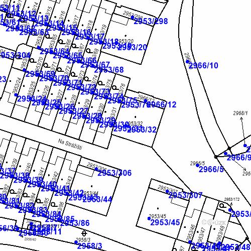 Katastrální mapa Parcela 2953/32 na katastrálním území Kadaň