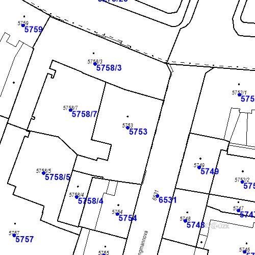 Katastrální mapa Parcela 5753 na katastrálním území Plzeň