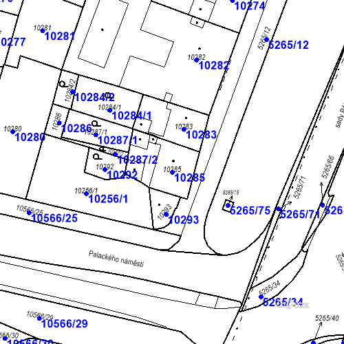 Katastrální mapa Parcela 10285 na katastrálním území Plzeň
