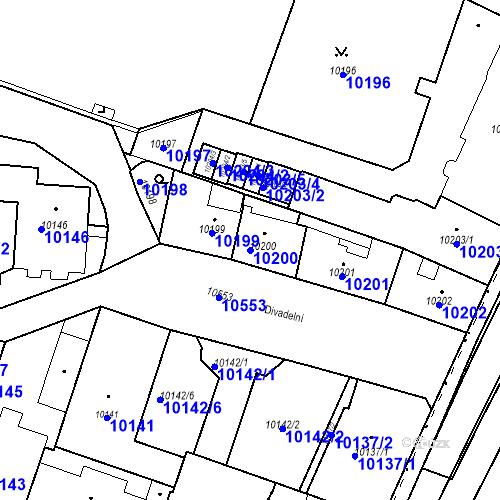 Katastrální mapa Parcela 10200 na katastrálním území Plzeň