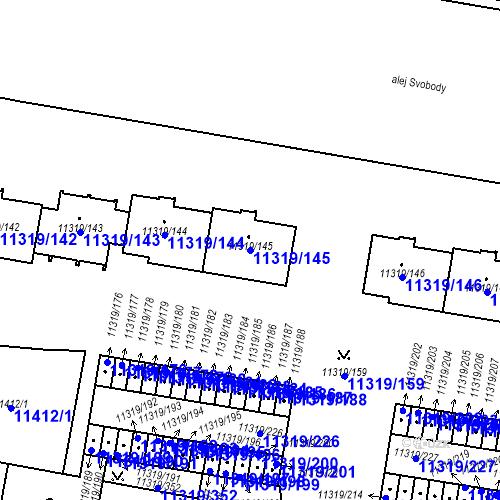 Katastrální mapa Parcela 11319/145 na katastrálním území Plzeň