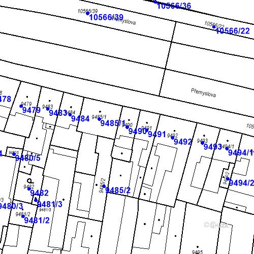 Katastrální mapa Parcela 9490 na katastrálním území Plzeň