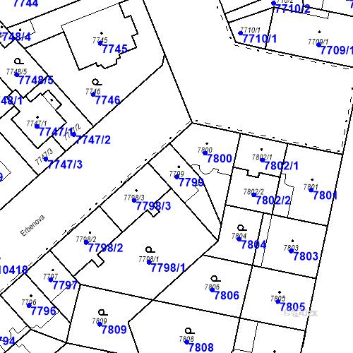 Katastrální mapa Parcela 7799 na katastrálním území Plzeň
