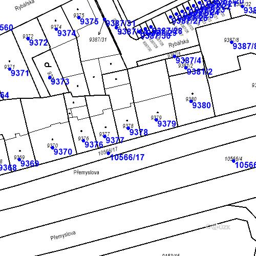 Katastrální mapa Parcela 9378 na katastrálním území Plzeň