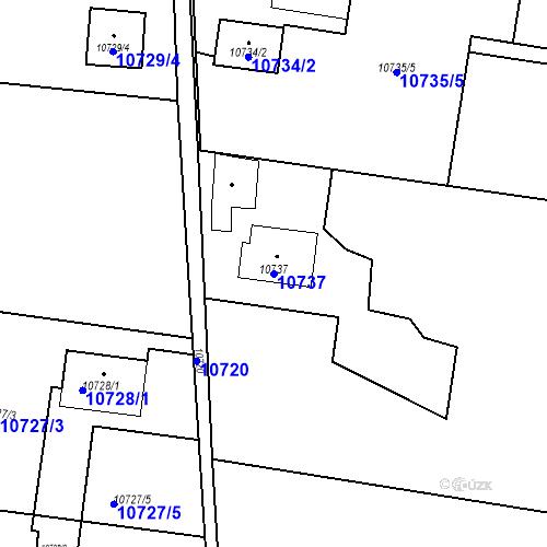 Katastrální mapa Parcela 10737 na katastrálním území Plzeň