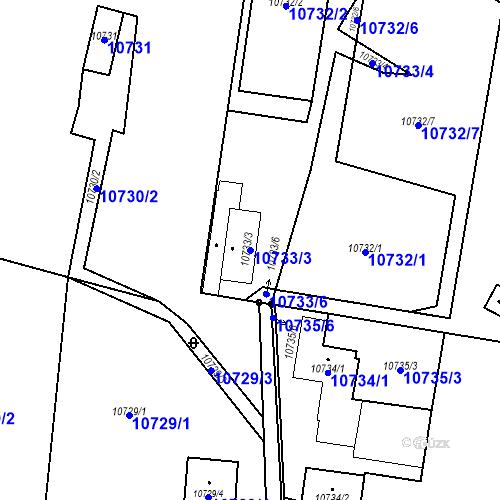 Katastrální mapa Parcela 10733/3 na katastrálním území Plzeň