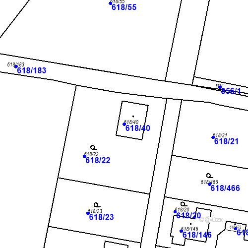 Katastrální mapa Parcela 618/40 na katastrálním území Lhota u Dobřan