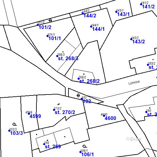 Katastrální mapa Parcela 268/2 na katastrálním území Žlutice