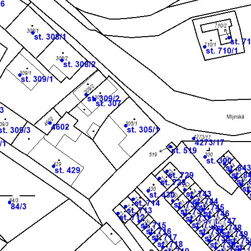 Katastrální mapa Parcela 305/1 na katastrálním území Žlutice