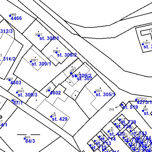 Katastrální mapa Parcela 307 na katastrálním území Žlutice