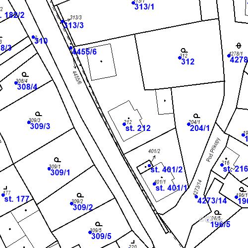 Katastrální mapa Parcela 212 na katastrálním území Žlutice