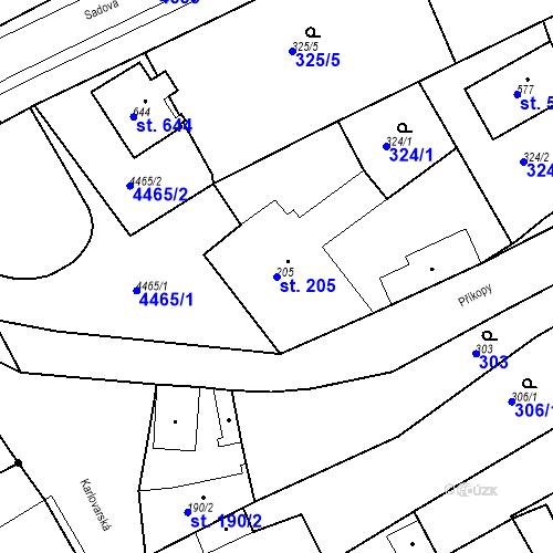 Katastrální mapa Parcela 205 na katastrálním území Žlutice