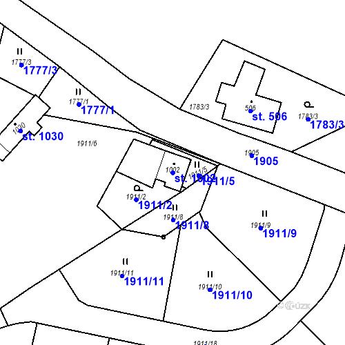 Katastrální mapa Parcela 1002 na katastrálním území České Hamry u Vejprt