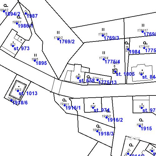 Katastrální mapa Parcela 658 na katastrálním území České Hamry u Vejprt