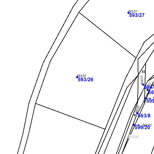 Katastrální mapa Parcela 593/26 na katastrálním území Luhov u Líšťan
